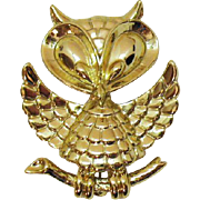 Adorably Figural Vintage Signed AJC Golden Owl Brooch