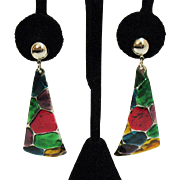 Vintage Dangle Pierced Earrings Enameled Cobblestone~2 1/2 Inches Long