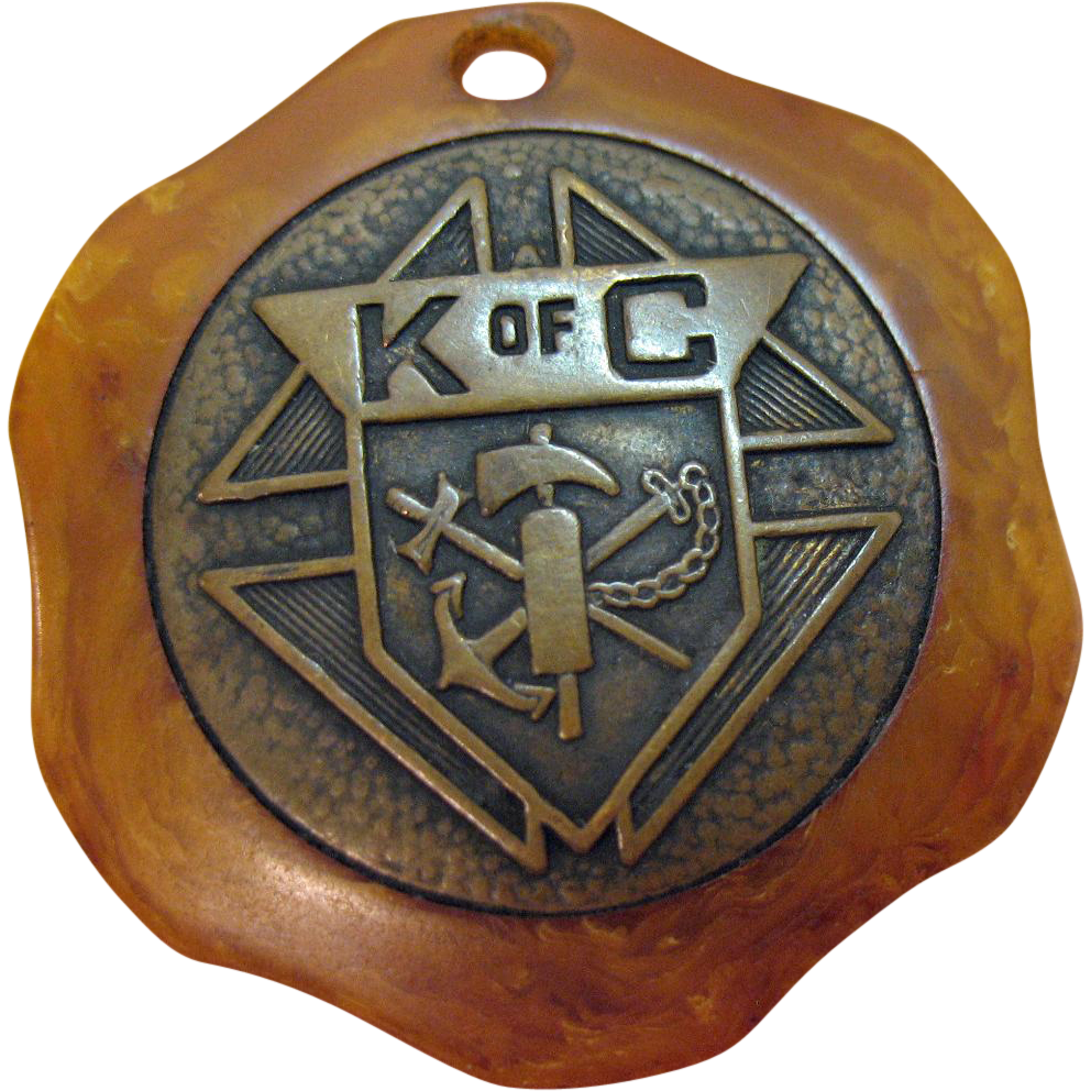 Rare Vintage Knights of Columbus Saint Christopher Butterscotch Bakelite Pendant