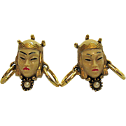 Vintage Selro Selini Asian Princess Face Earrings
