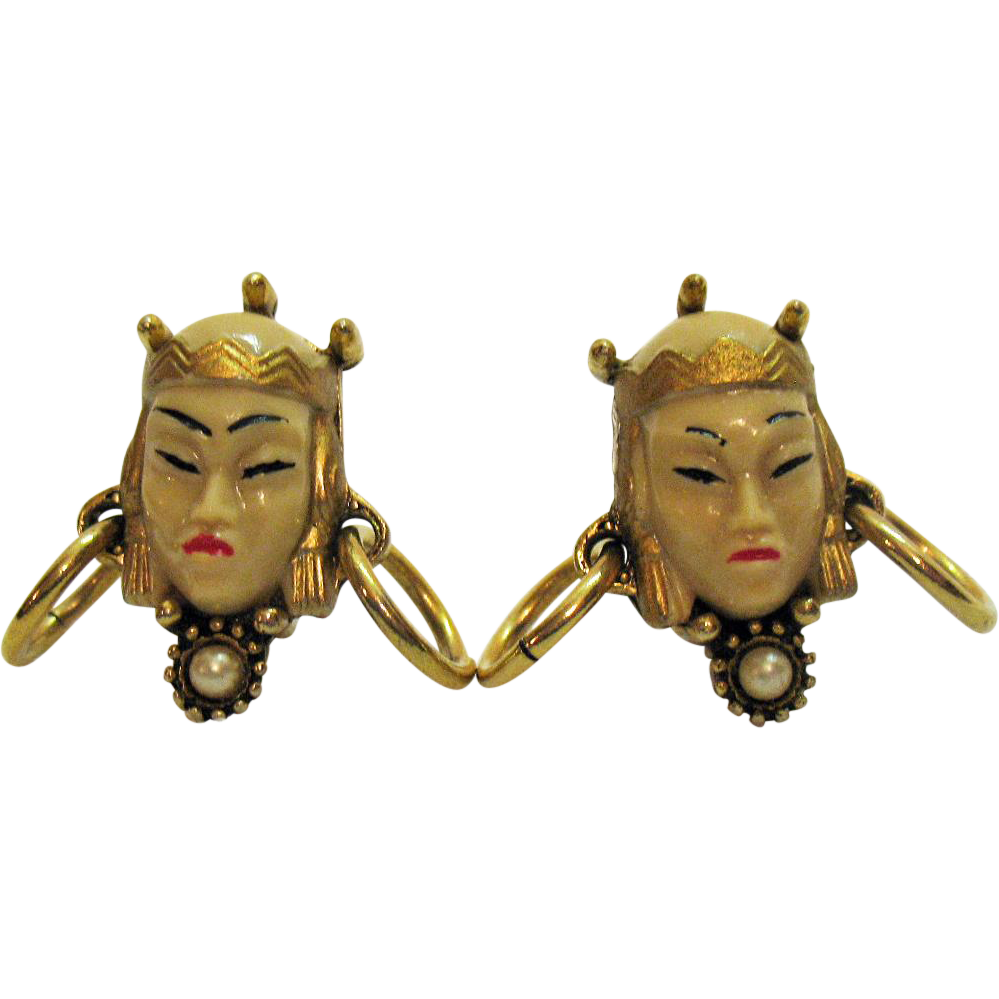 50% Off Vintage Selro Selini Asian Princess Face Earrings