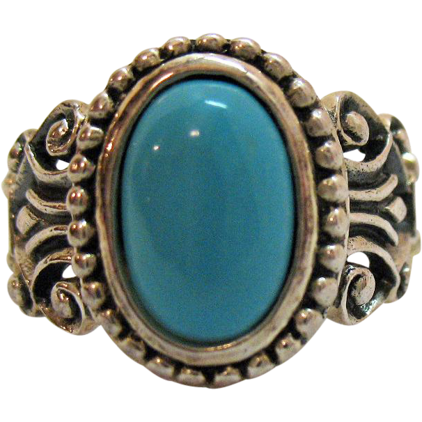Rare Vintage Avon of Belleville Sterling Silver Turquoise Glass Ring~Marcel Boucher