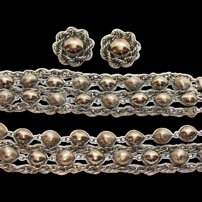 Big Bold Vintage Silver Chain Parure Necklace Bracelet Earrings