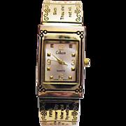 Unusual Vintage 10 Commandments Hinged Bangle Bracelet Wrist Watch by Collezivo