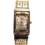 Unusual Vintage 10 Commandments Hinged Bangle Bracelet Wrist Watch by Collezivo
