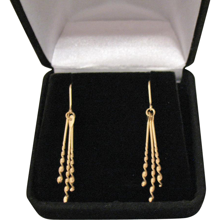 Gorgeous Vintage 14K Gold Pierced Dangle Corkscrew Wire Earrings