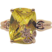 Rare Bold Fancy Simulated Canary Yellow Diamond Signed AVON of Belleville Ring with Overlay Flower