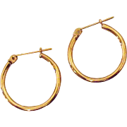 Vintage Hallmarked JCM 14K Gold Hook Pierced Earrings