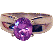 Gorgeous Vintage Sterling Silver Purple Pink Band Ring Hallmarked M
