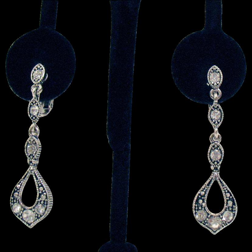 Gorgeous Vintage Dangle Rhinestone Art Deco Revival Clip Earrings