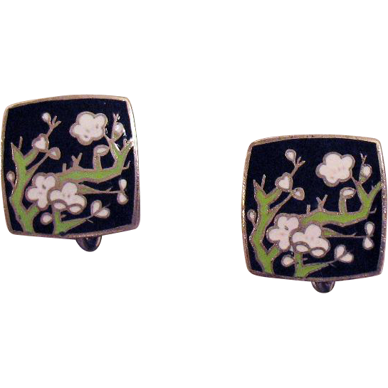 Elaborate Vintage Cloisonne Cherry Blossom Screw Back Earrings