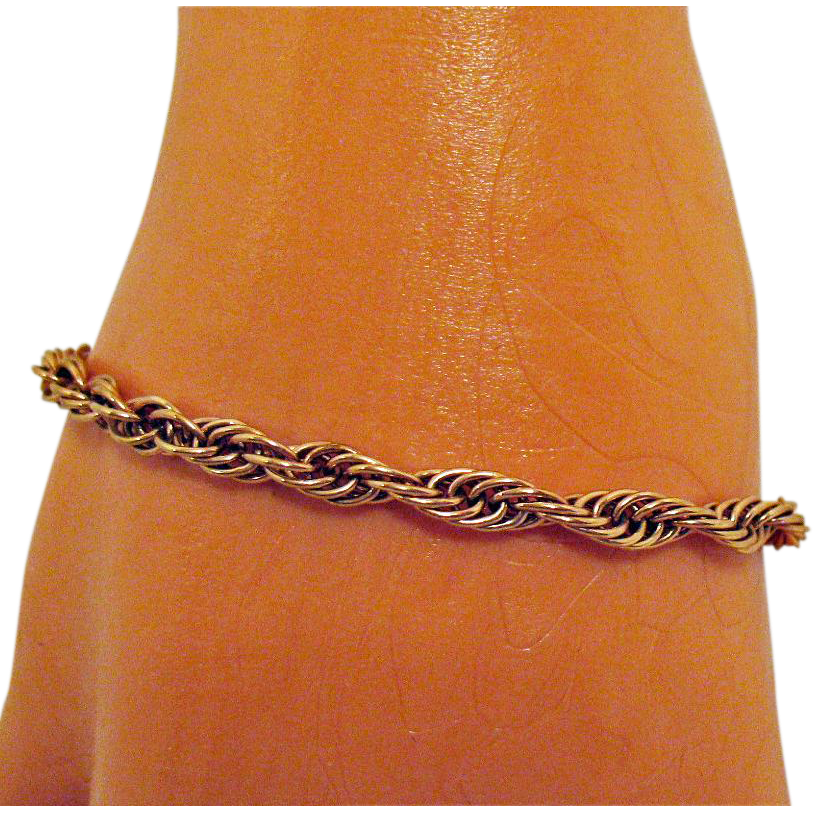 Awesome Vintage Italian Sterling Silver Rose Gold Vermeil Twisted Rope Bracelet