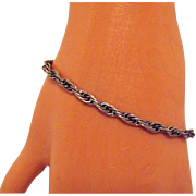 Awesome Vintage Italian Sterling Silver Twisted Rope Bracelet