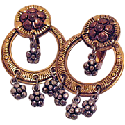 Wonderful Vintage Flower Dangle Two-Tone Clip Earrings