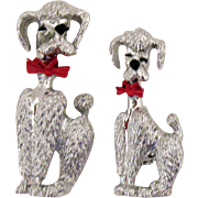 Darling Vintage Silver French Poodle Scatter Pins/Brooch