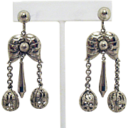 Beautiful Vintage Etruscan Style Dangle Filigree Orb Screw Back Earrings