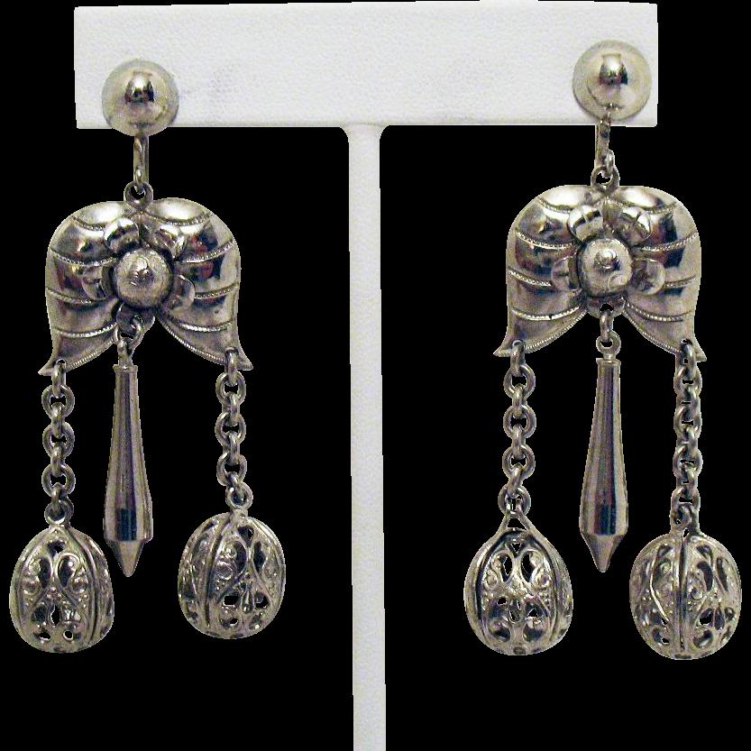 Beautiful Vintage Etruscan Style Dangle Filigree Orb Screw Back Earrings