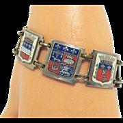 Vintage French Enameled 1940s Crest Bracelet