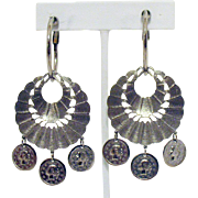 Vintage 1965 Egyptian Revival Hoop Coin Screw Back Earrings 3 Inches Long