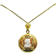 Vintage Signed 12K GF Shell Cameo Locket Pendant Necklace