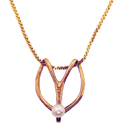 Beautiful Vintage Stylized 14K Gold Pearl Pendant Necklace Made in Italy
