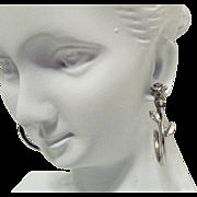 Vintage Signed Avon Silver Rose Hoop Pierced Earrings
