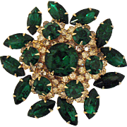 Huge Vintage Signed Judy Lee Green Clear Rhinestone Brooch