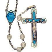 Gorgeous Vintage French Sterling Silver Rock Crystal Guilloche Enameled Rosary