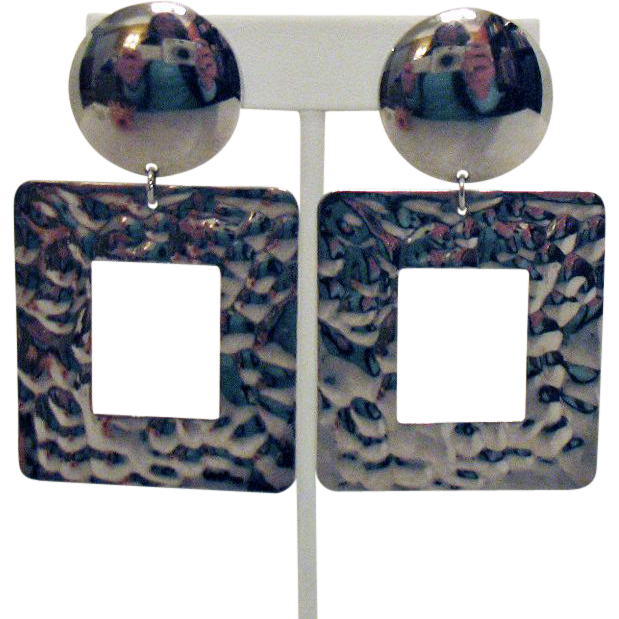 Big Vintage Shiny Silver Bold Cobblestone Dangle Clip Earrings 3 Inches Long!