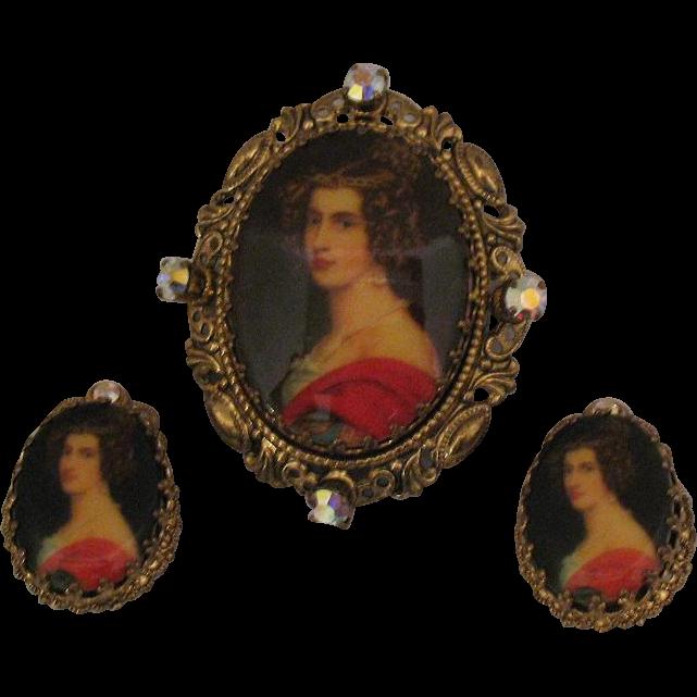 Geogeous Vintage Signed Germany Portrait Brooch Earrings Set