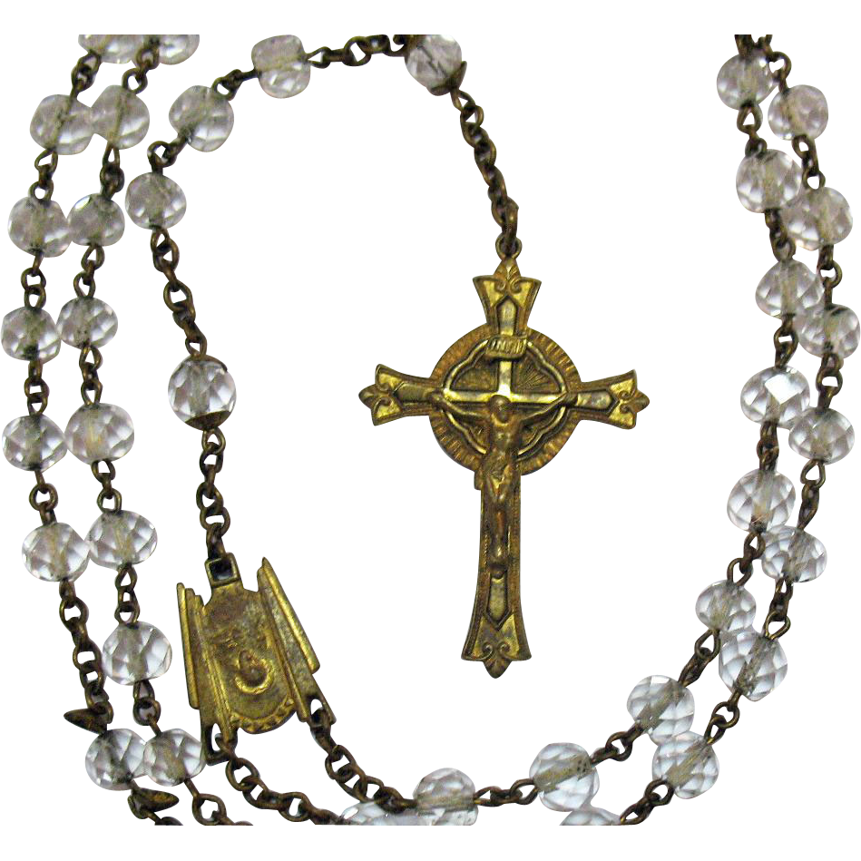 Very Old Vintage Cut Crystal Brass Rosary