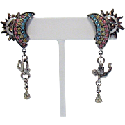 Retired Signed Kirks Folly Vintage Rainbow Sun Cherub Rhinestone Shoulder Duster Pierced Earrings