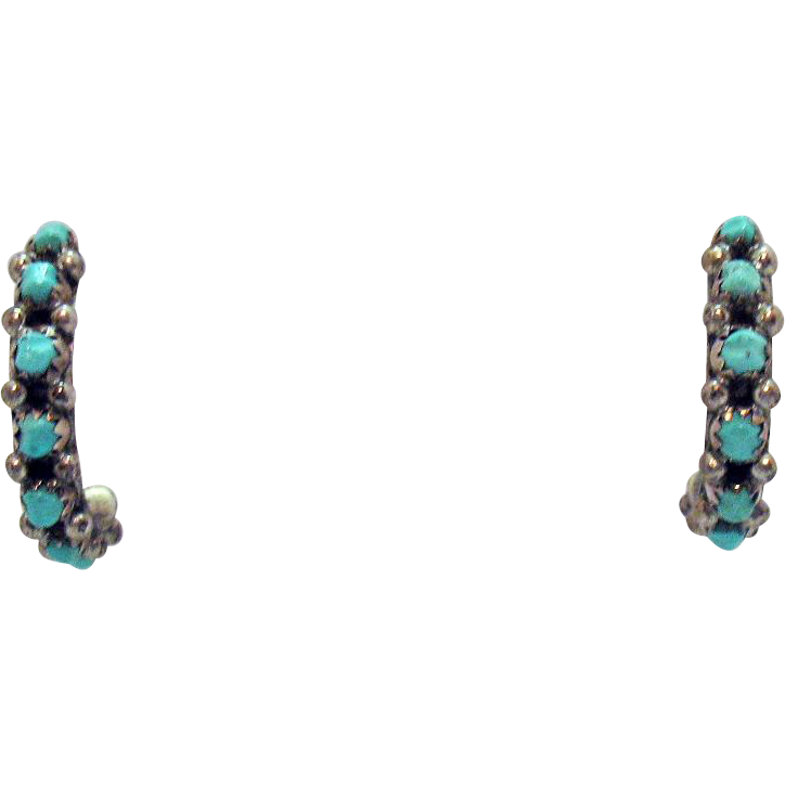 Wonderful Vintage Sterling Silver Turquoise Half Hoop Pierced Earrings