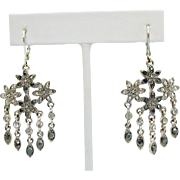 Vintage Silver Marcasite Rhinestone Chandler Dangle Pierced Earrings