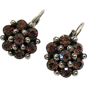 Cognac Colored Vintage Flower Wire Dangle Pierced Earrings