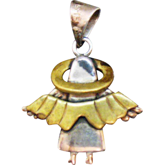 Vintage Sterling Silver Brass Stylized Taxco Mexico Double Winged Angel Pendant Signed TS-13