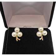 Vintage Estate 14K Gold Cultured Pearl Signed Imperial Screw Back Earrings