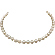 Estate Vintage Imperial Cultured Pearl Necklace 6mm 14K White Gold Diamond Clasp