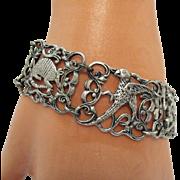 Unusual Vintage Arts Crafts Period Sterling Silver Repousse Animal Bird Bracelet