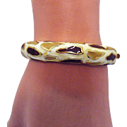 Vintage Enameled Giraffe Pattern Hinged Bangle Bracelet
