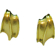 Vintage Signed Erwin Pearl Bold Gold Clip Earrings