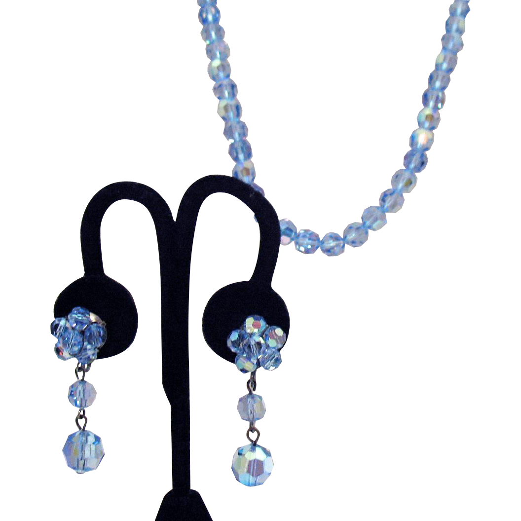 Stunning Vintage Blue Faceted Glass Beaded Necklace Dangle Earrings Set