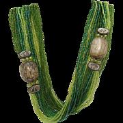 Unusual Vintage 12 Strand Green Cut Glass Beaded Torsade Necklace