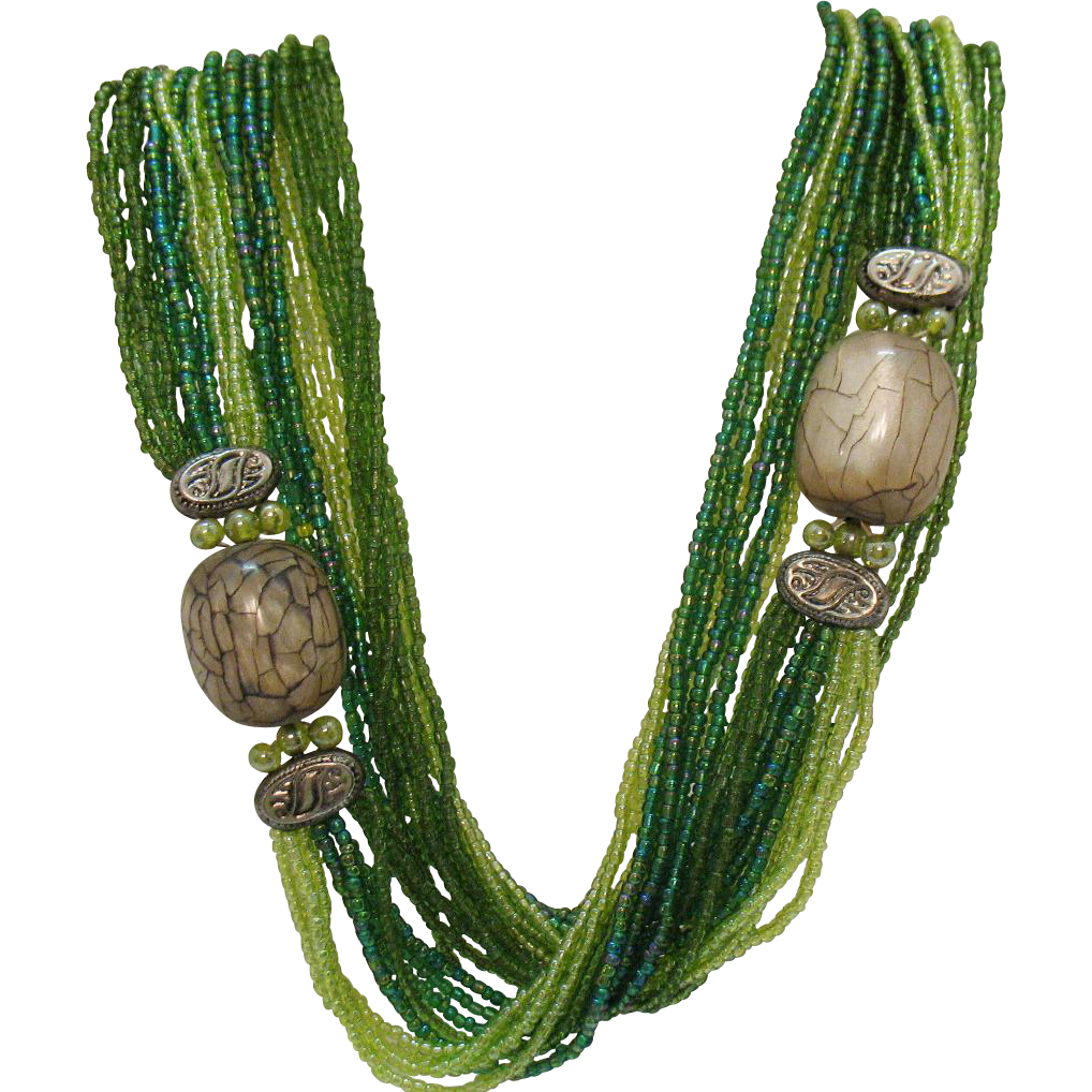 Unusual Vintage 12 Strand Green Cut Glass Beaded Torsade Necklace