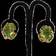 Stunning Vintage Huge Peridot Green Glass Clip Earrings