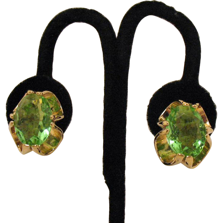 Stunning Vintage Huge Peridot Green Glass Clip Earrings