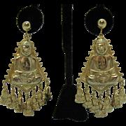 Awesome Vintage Sitting Buddha Dangle Charms Screw Back Earrings