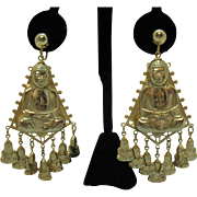 Awesome Vintage Sitting Buddha Dangle Charms Screw Back Earrings