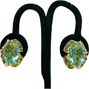 Stunning Vintage Huge Aquamarine Glass Clip Earrings