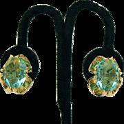 Stunning Vintage Huge Aquamarine Glass Clip Earrings